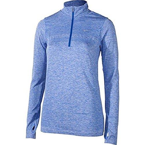 NIKE Women's Dri-fit Knit Half-Zip Element Running Long Sleeve Shirt 719469 (X-Large, Blue)