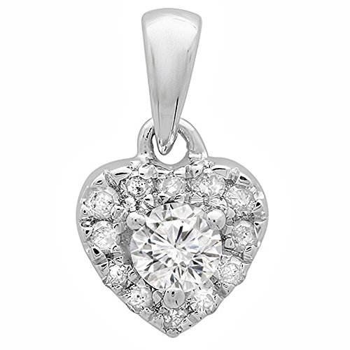 0.25 Carat (ctw) 10K White Gold Real Round Cut Diamond Ladies Heart Pendant 1/4 CT Lady Heart Diamond
