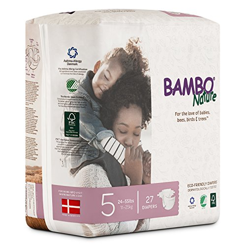 Bambo Nature Eco Friendly Premium Baby Diapers for Sensitive Skin, Size 5 (24-55 lbs), 162 Count (6 Packs of 27) by Bambo Nature (Image #2)