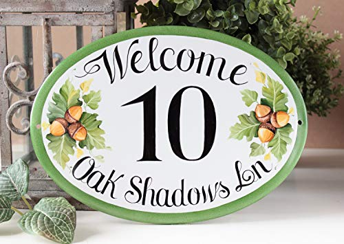 (Zora Camp Oak Leaves House Number Plaque Custom House Number Yard Address Sign Front Door Sign Personalized Address Plaque Custom Welcome)