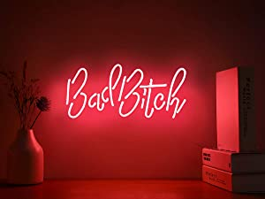 Neon Signs Bad Bitch Neon Light Sign Hanging Neon Sign Pink Neon Lights Neon Wall Sign Neon Lamp Art Decorative Light for Home Bedroom Room Decor Bar Office Halloween Party