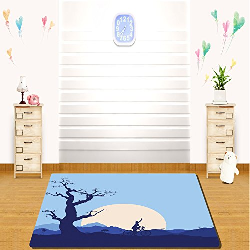 HAIXIA rugs Apartment Decor Rising Moon in Abandoned Forest