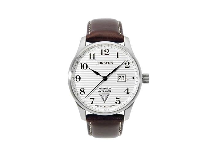 Junkers Iron Annie JU52 Auto ETA 2826-2 - Reloj de Pulsera (Fecha Grande, 42 mm), Esfera Blanca 6656 - 1: Amazon.es: Relojes