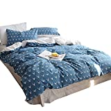 ORoa Soft Duvet Cover Queen Full Size Animal Elk Deer Print for Kids Teen Girls Students Cotton 100, Children Cartoon Antlers Bedding Sets Queen Blue Reversible Lightweight Breathable