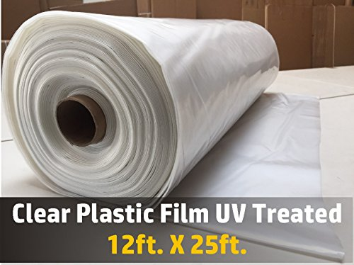 Greenhouse Clear Plastic Film Polyethylene Covering UV Treated 12ft. X 25ft.