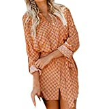 AMSKY Dress Sandals for Women,Womens Long Sleeve Point Fashion Ladies Casual Evening Paty Mini Dress,Girls' Dresses,Yellow,L