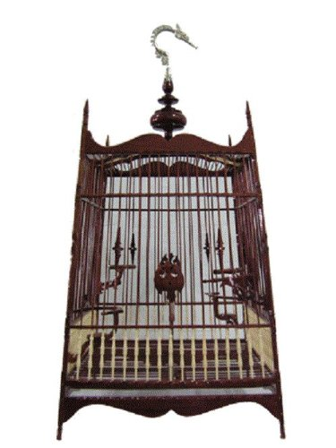 Popular Elegant Elaborate Dark Brown Color Hanging Nak-bud Wood Bird Cage Thai-southern Style Made in Thailand by Wooden Bird Cage