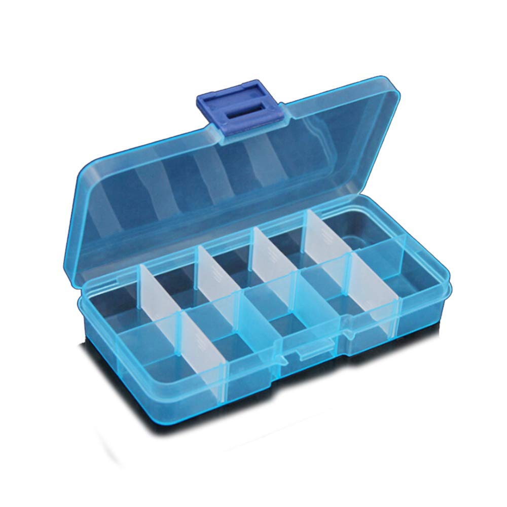 TIMLand Clear Plastic Storage Box, 10 Compartments Small Durable Small Accessories Container for Beads Earring Jewelry - Blue by TIMLand (Image #1)
