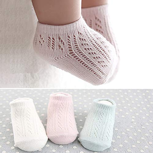 3 Pair Baby Low-cut Non Skid Crew Sock Pastel Solid Thin Mesh Anti Skid Socks for Infant Toddler Boys Girls, 0-4 Years Old (2-4Y) ()