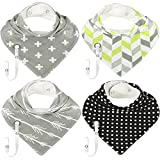 Baby Bandana Drool Bibs with Pacifier / Teething Toy Lanyard, Cotton, Gender Neutral Unisex Designs for Boys and Girls, Great Baby Shower / Registry Gift - 4 Pack - by Mrs Muffet
