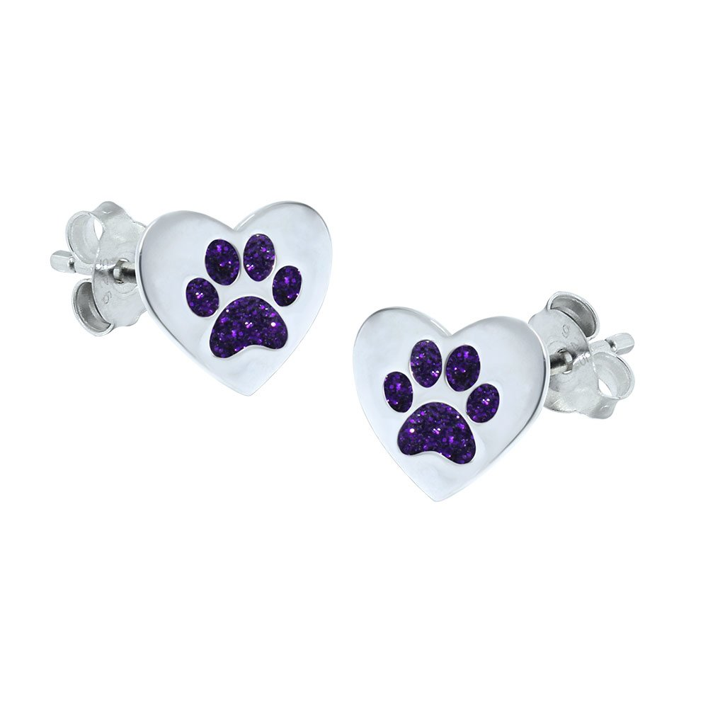 Purple Glitter Paw Earrings - Love Heart Katy Craig E901