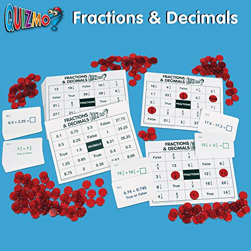 51eOrJ8w 7L - Learning Advantage QUIZMO Advanced Elementary Math Series - Set of 6 Bingo-Style Math Games for Kids - Teach Fractions, Decimals, Math Vocabulary, Geometry, Place Value and Integers