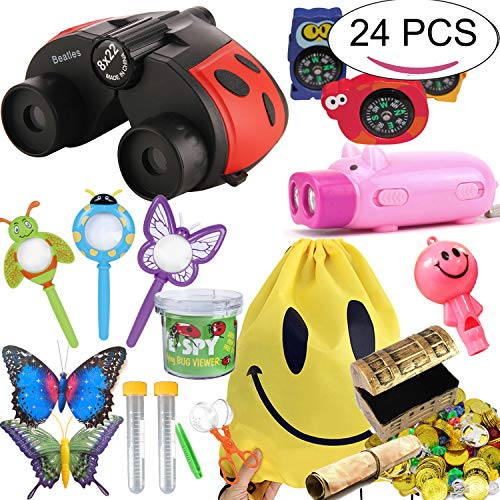 The Ultimate Outdoor Exploration Kit For Kids - 24 PCS Outdoor Toys Gift Set For Birthday Binoculars Pirate's Treasure Flashlight Compass Whistle Magnifying Glass Tweezer Bug Container Spider Backpack