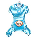 Petparty Cute Bear Comfy Dog Pajams Dog Shirt Stripes Dog Jumpsuit Pet Dog Clothes (Blue, L)