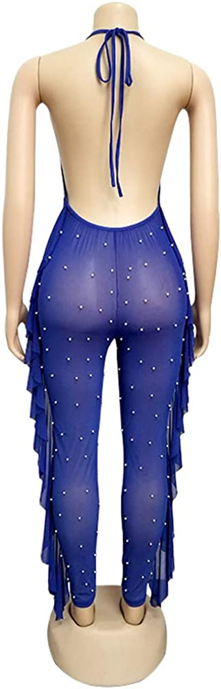 Haloladies Womens See Through Sheer Mesh Long Sleeve Hoodie Zip Up Casual Loose Pockets Jumpsuits Rompers