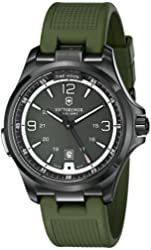 """Victorinox Men's 241595 """"Night Vision"""" Stainless Steel Watch with Green Rubber Band"""