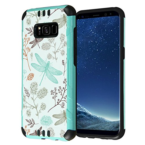 Galaxy S8 Case, Capsule-Case Hybrid Dual Layer Slim Defender Armor Combat Case (Teal Green & Black) Brush Texture Finishing for Samsung Galaxy S8 SM-G950 SPHG950 - (Dragonfly)