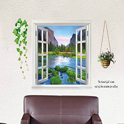 EMIRACLEZE Christmas Gift 3d Style False Window Guilin Scenery Removable Mural Wall Stickers Wall Decal for Living Room and Bedroom Wall and Home Decor