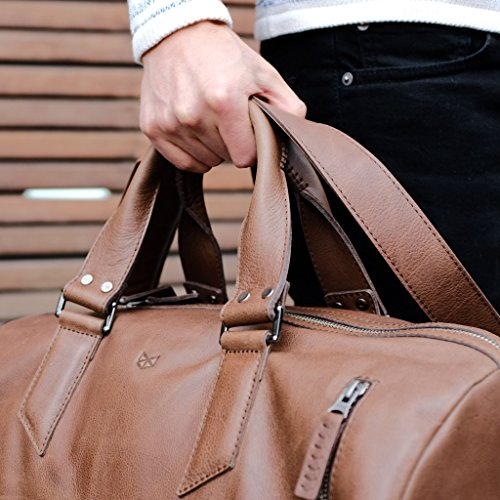d5d021e6ed641a Brown Leather Duffle Bag by Capra Leather. Size: 45 Liters. Personalized,  Handmade, Weekender, Carry on // SUBSTANTIAL DUFFLE BAG 45 - Buy Online in  Oman.