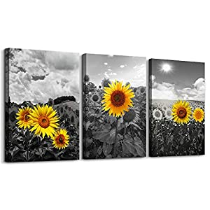 Black and white Pastoral scenery sunflower flowers Canvas Wall Art for Living Room family Bedroom wall art painting Home…