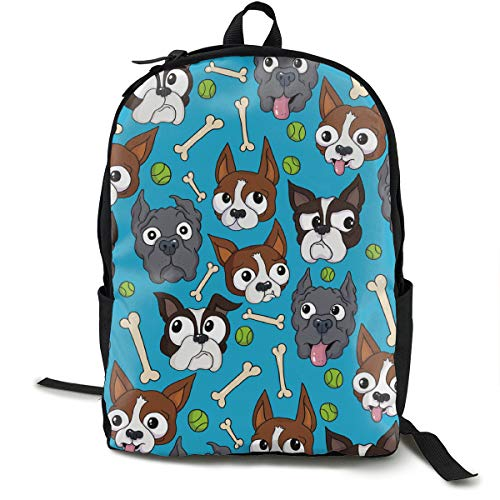 O-X_X-O Unisex Classic Lightweight Polyester Boston Terriers Dog Bone Backpack School Rucksack Travel Backpack College School Bags Laptop Backpack