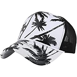 Nikuya Women Men Coconut Tree Printing Baseball Cap Snapback Hip Hop Flat Hat (Black)