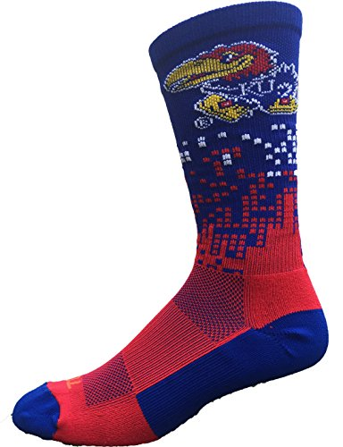 Kansas Jayhawks Downtown Crew Socks (Crimson/Blue/White, Medium)