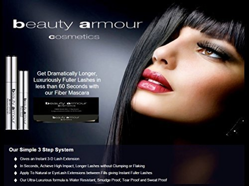 Beauty Armour Cosmetics 3-Steps Fiber Mascara, Lash Extensions in 60sec by Beauty Armour Cosmetics Inc.