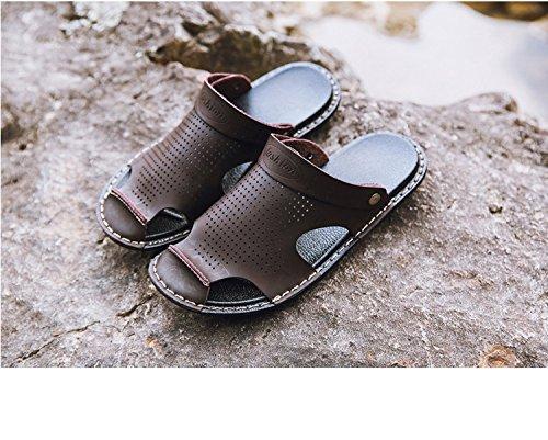 I nuovi sandali di estate Uomini a doppio uso Sandali antisdrucciolevoli Sandali di Microfiber Tempo libero Beach slip, Brown, UK = 6, EU = 39