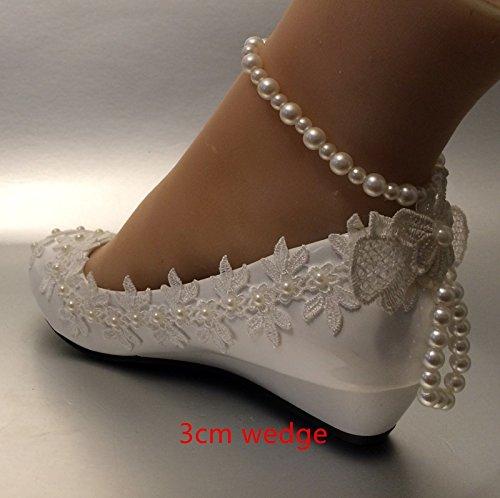JINGXINSTORE de 5 a Perla 3 Cu zapatos marfil o 12 boda tama cm marfil encaje US novia 5 5 SxnTxEwF5
