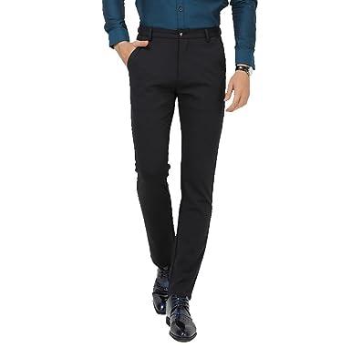 Zhiyuanan Pantalones De Traje para Hombre Casuales Oficina ...