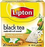 Lipton Black Tea Pyramids, Vanilla Caramel 20 ct (Pack of 6)