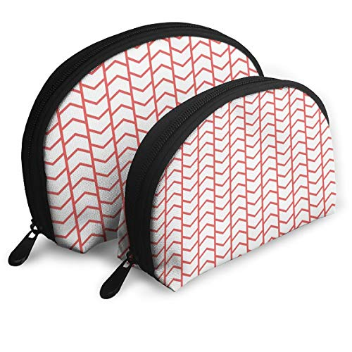 - Shell Shape Makeup Bag Set Portable Purse Travel Cosmetic Pouch,Geometrical Chevron Lines And Triangle Shaped Border Seem Artwork Image,Women Toiletry Clutch