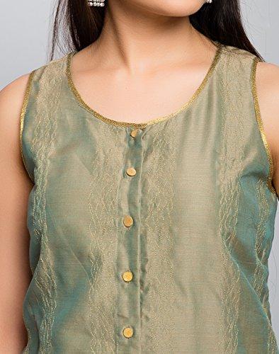 Fabindia Silk Cotton Zari Top Printed Skirt Set/XL by Fabindia