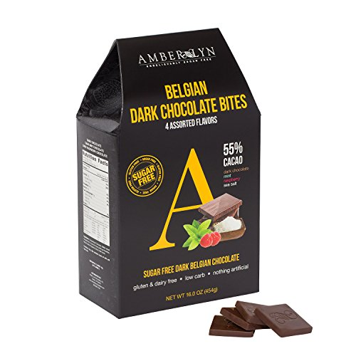 Amber Lyn Belgian Dark Chocolate Bites, Assorted - Sugar Free (16 oz (Amber Chocolate)