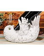 Wisdom Of The Tundra Beautiful Mystical Snowy Owl Wine Bottle Holder Figurine