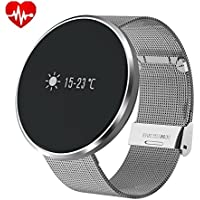 Bluetooth Smartwatch Round Water Resistant with Heart Rate Monitor,Blood Pressure, Sleep Monitor, Pedometer, for IOS and Android Device (Noble silver)