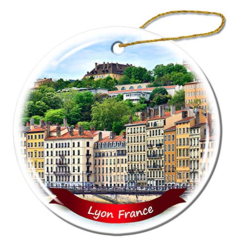 Fhdang Decor Lyon France Christmas Ornament Porcelain Double-Sided Ceramic Ornament,3 Inches (Ornaments Christmas Lyon France)