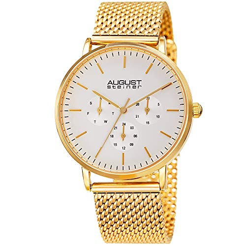 August Steiner Designer Men's Watch - Fine Mesh Stainless Steel Gold Tone Bracelet Strap - Day, Date and 24 Hour Multifunction Sub Dials - AS8255YG