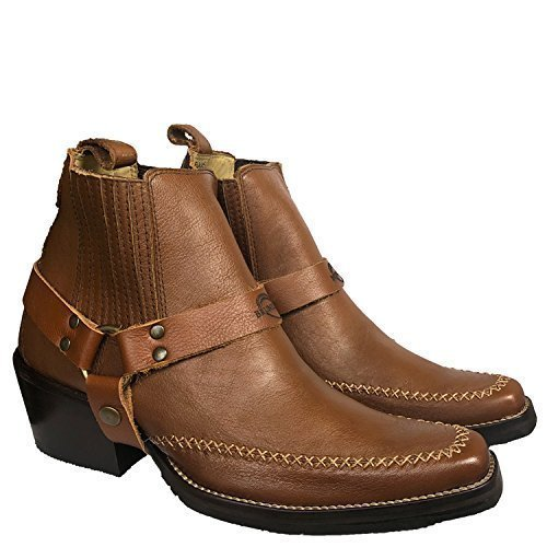 Brunello's Men's Genuine Leather Snip Toe Western Boot- Low Cut Florence Brown Caramel by Taben Western Products Inc