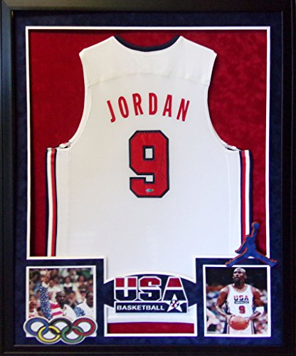 Michael Jordan USA Team USA Olympics Autograph Signed Custom Framed Jersey UDA Upper Deck Authenticated (Uda Upper Deck Jersey)