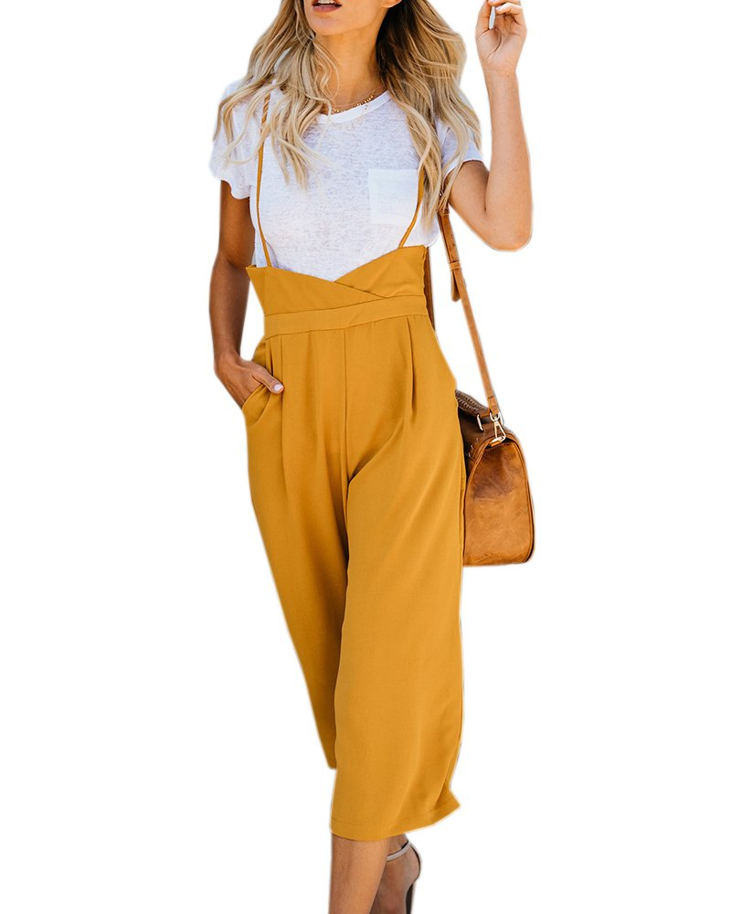 Imysty Womens Spaghetti Strap Jumpsuits Wide Leg Backless Overall Romper Pants Pockets
