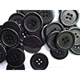 Lyracces Wholesale Lots 100pcs 18color Pick 25mm Flatback Resin Sewing Clothes Fasteners Buttons (Black)