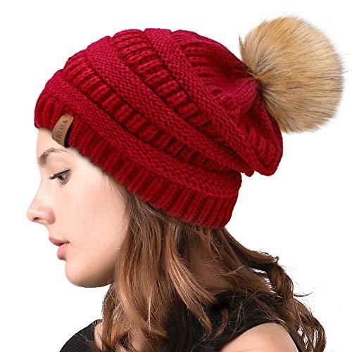 0586e5c95c30e7 Womens Winter Slouchy Knit Beanie Chunky Faux Fur Pom Poms Hat Bobble Hat  Ski Cap