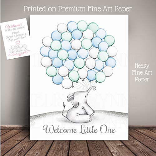 - Elephant Balloon Nursery Decor PRINT ON PAPER, Guest Registry Art Print, Guest Book Alternative, All Sizes ship flat with Pen, Instruction card- EBT-HL-BL