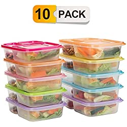 Bento Lunch Boxes,3-Compartment Meal Prep Containers with Lids,Food Storage Containers,10 Pack BPA Free Food Lunch box,Leak Proof,Reusable,Stackable,Microwave,Freezer and Dishwasher Safe