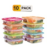 divided lunch container for kids - Bento Lunch Boxes,3-Compartment Meal Prep Containers with Lids,Food Storage Containers,10 Pack BPA Free Food Lunch box,Leak Proof,Reusable,Stackable,Microwave,Freezer and Dishwasher Safe