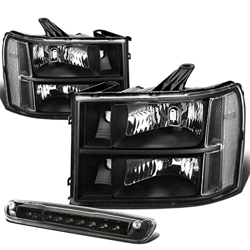 For Sierra GMT900 Pair of Black Housing Clear Corner Headlight+LED 3rd Brake Light