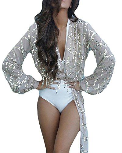Shirt Damen Langarm Laterne Hülse Elegant Stitching Glitzer Pailletten Transparent Cocktail Blusen