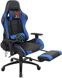 RIMIKING Massage Gaming Chair - Swivel Rocking Desk Racing Chair with Retractable Footrest Adjustable Lumbar Cushion Headrest Blue